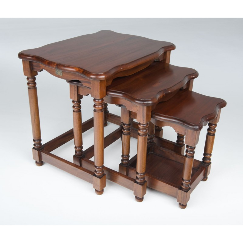 Victorian french nest of tables solid mahogany 3 table nest of tables with turned legs and curved top loading zoom watchthetrailerfo