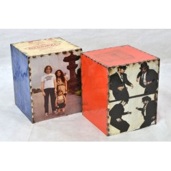 Block Stools metal box stools with movie images and coloured sides, two stools stacking one inside the other