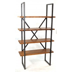 Mango Wood and Steel Bookcase 2 Legs