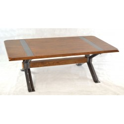 Cross legged coffee table with solid mango wood top and steel braced legs
