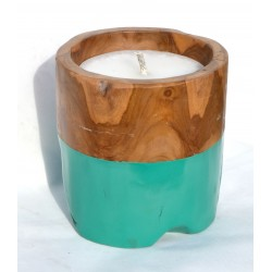 Teak candle made from reclaimed teak root with a turquoise painted band round the bottom half