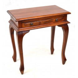 Cabriole leg hall table or side table with a single drawer made from solid mahogany and finish in a traditional polished finish