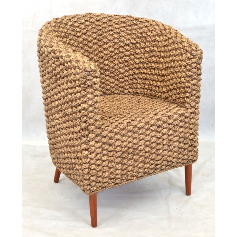 Arm Chair With A Solid Wood Frame And Covered With Woven Water Hyacinth  Reeds. Loading Zoom