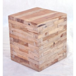 Round Block Stool made from individual solid wood blocks