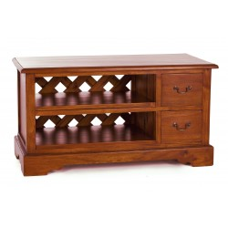 Solid Mahogany TV Unit with 2 entertainment shelves and 2 drawers in a tradtional polish