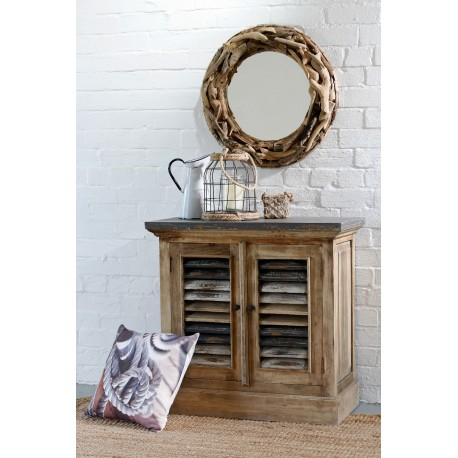 Shabby Chic and natural wood style cupboard with distressed painted louvre vented doors and distressed painted top