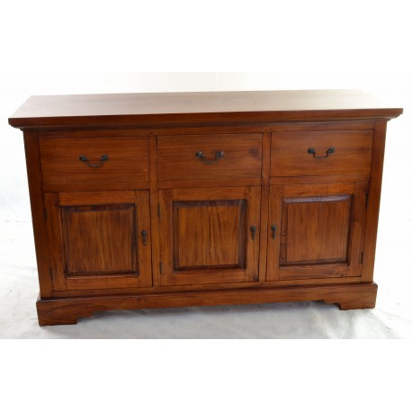 Solid Mahogany traditionally styled sideboard with three drawers and a 3 door cupboard in polished finish