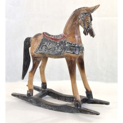 Small Rocking Horse ornament with black saddle work