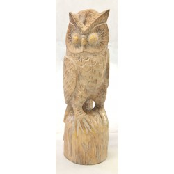 Large owl ornament in natural wood with detailed feathers and features