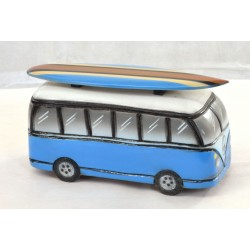 Wooden ornament depicting a Blue Camper Van with Surfboard on the roof