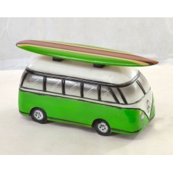 Wooden ornament depicting a Green Camper Van with Surfboard on the roof