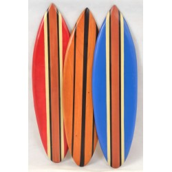 Large Wooden Ornamental Surfboard available i Red, Blue, Natural Wood and Airbrushed Wood