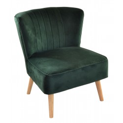 Dark Green velvet covered accent chair or bedroom chair with wooden legs