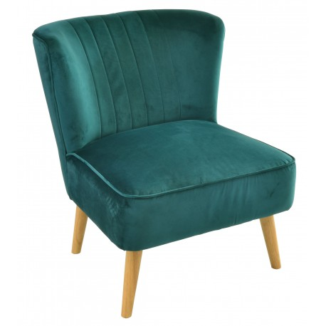 Teal velvet covered accent chair or bedroom chair with wooden legs
