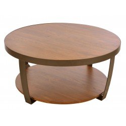 Large round coffee table with low shelf made from solid mango wood and a steel frame