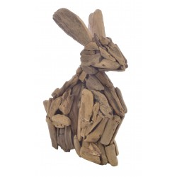 Unique rabbit ornament made from selected reclaimed pieces of teak