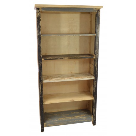 Solid Mindi wood tall bookcase with fixed shelves and a distressed multi colour painted finish
