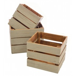 Set of 3 slatted wood crates with white painted outside and plain wood inside can stack inside each other