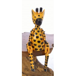Wooden Sitting Giraffe with articulated arms and legs designed to sit on the edge of a shelf