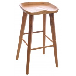 Solid Teak bar stool with deep cut ergonomic seat and substantial oval cut legs in a natural wood finish