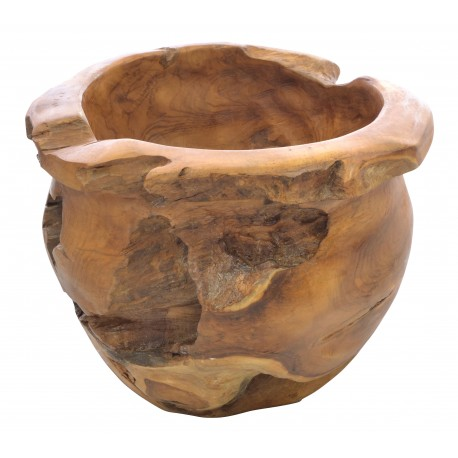 Solid teak decorative bowl made from the root of the teak tree with each unique design