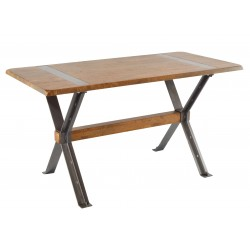 Crossed legged desk with solid mango wood top in a high polish and metal legs in a cross braced design