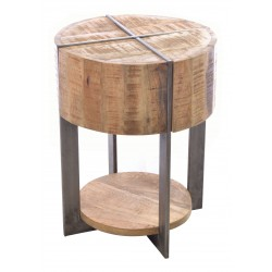 Industrial style round lamp table with a deep table top with metal cross style and a low wood shelf between metal legs