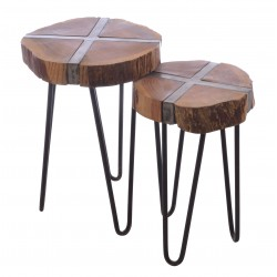 Two table nest made with metal and wood combined with a wood top set in metal stand forming a cross section style