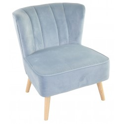 Light Blue velvet covered accent chair or bedroom chair with wooden legs