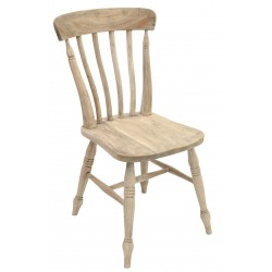 Solid wood farmhouse chair with a slat back and wash finish