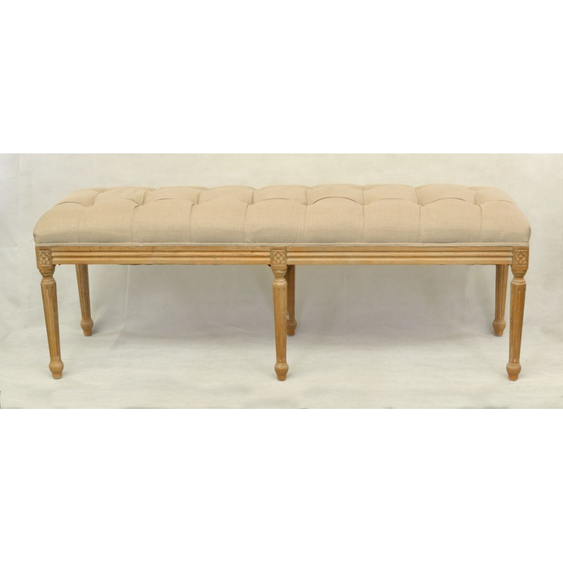 Awesome Upholstered Bench Uk Part - 11: Gustavian Style Bench With A Pale Oatmeal Coloured Fabric And Pillar Legs  Detailed With A Flower. Loading Zoom