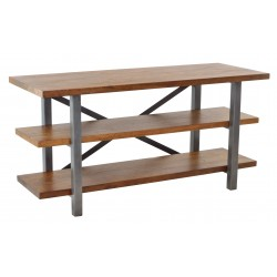 Three shelf TV unit with solid metal legs supports, shelves made from solid mango wood with a high polish