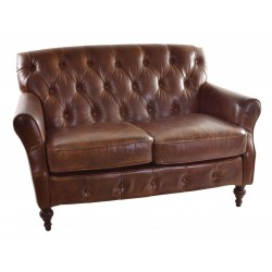 Vintage leather two seat sofa with button back and front detail solid wood feet and frame