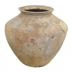 Large ceramic pot with a rustic weathered finish and wide amphora shape