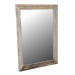 Large wood framed mirror with a distressed paint finish and simple carving