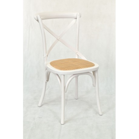 White Bentwood Dining Chair with wicker seat, a classic cross design back and arched support to the legs all painted white