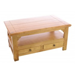 Solid Mango Wood Coffee Table with a shelf above two drawers in a rustic style with a modern light wood finish