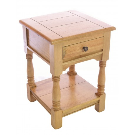 Solid Mango Wood side table with single top drawer and low shelf in a rustic style with a light wood finish