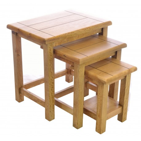 Solid Mango Wood nest of three tables in a rustic style with a modern light wood finish