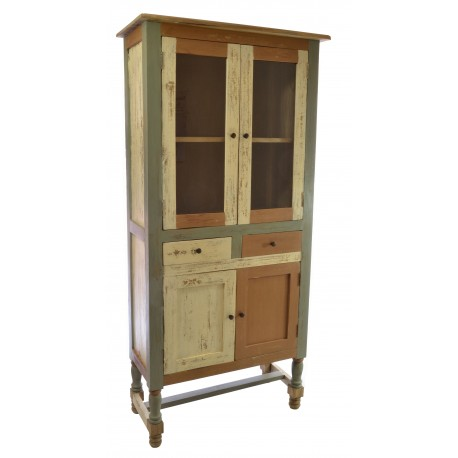 Tall Diplay Bookcase with glass doors and a low cupboard over turned and braced legs in a distressed painted finish