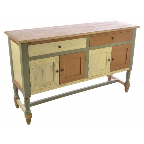 Solid Wood sideboard with two drawers and two cupboards over turned and braced legs in a distressed painted finish
