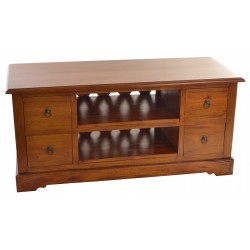 Solid Mahogany TV Unit with 2 entertainment shelves and 4 drawers with ring handles in a tradtional polish finish