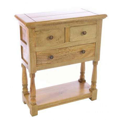 Solid mango wood hall table with two small drawers over a large drawer and a low shelf between turned legs in a light oak finish