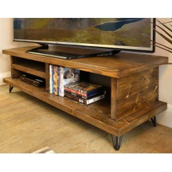 Solid Pine Low TV Unit in a dark stain with straight edge shelves and small hairpin metal legs