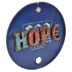 Metal sign with a cut out word hope welded on upcycled from disused oil drums