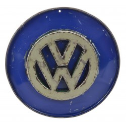 Metal sign with a cut out word VW sign welded on upcycled from disused oil drums