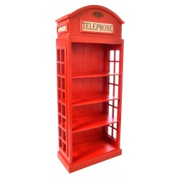 Wooden open fronted three shelf bookcase with the style of an old fashioned telephone box