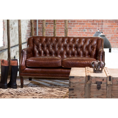 Vintage Leather Sofa, A Brown Leather 2 Seater Sofa With A Button Back And  Simple