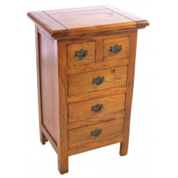 Solid Mango Wood 2 over 3 set of drawers bedside with a rustic finish and antiqued brass drop handles on a shaped plate