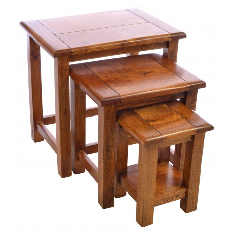 Solid Mango Wood nest of three tables in a rustic style with a deep wood finish